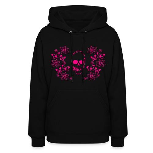 Pink Skull Pullover Hoodie - Women's Hoodie
