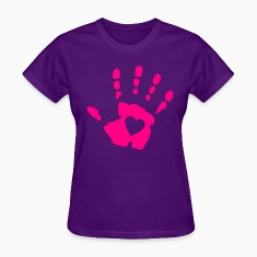 Light blue Heart Hand Print Women's T-Shirts