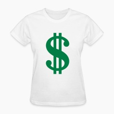 White Dollar Sign Women's T-Shirts