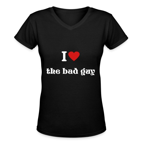 I heart the bad guy - Women's V-Neck T-Shirt