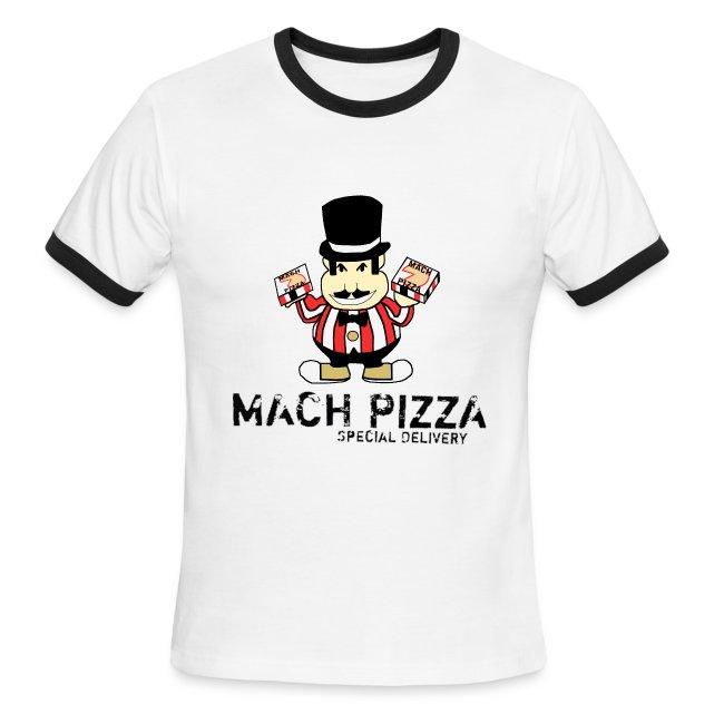 70c9e2adbc056 Mach Pizza White/Navy Mens Ringer Tee | Men's Ringer T-Shirt