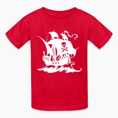 Red pirate ship Kids' Shirts