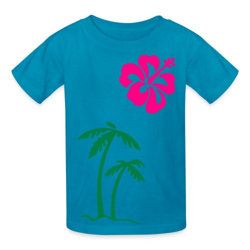 pink childrens t-shirt with palm tree and fower - Kids' T-Shirt