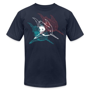 Designer 3d Halftone Great White Shark - Men's Fine Jersey T-Shirt