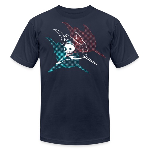 Designer 3d Halftone Great White Shark - Men's Fine Jersey T-Shirt