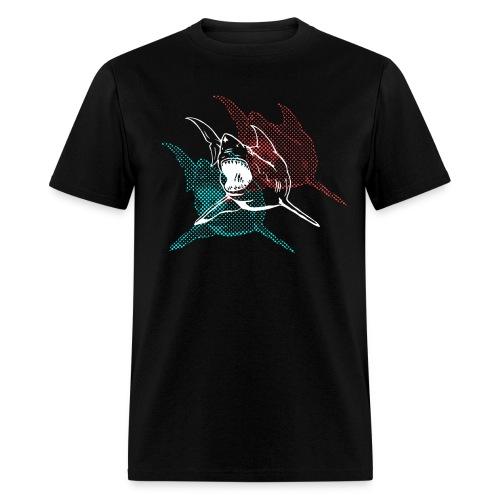 Designer 3d Halftone Great White Shark - Men's T-Shirt