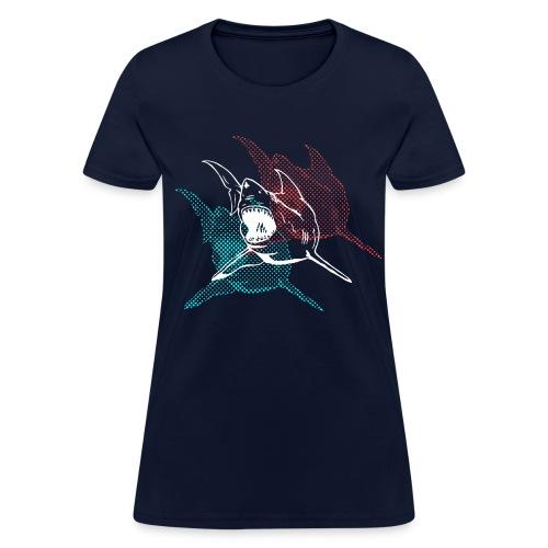 Designer 3d Halftone Great White Shark - Women's T-Shirt