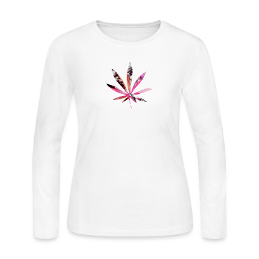 White PSYCHEDELIC POT LEAF Long Sleeve Shirts