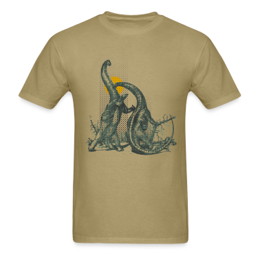 "Khaki Retro Dinosaurs Fighting ""Dinobite!"" T-Shirts"
