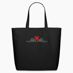 Black swirls 'n heart (2c) Bags
