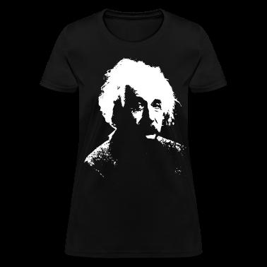 Black Einstein White Women's T-Shirts