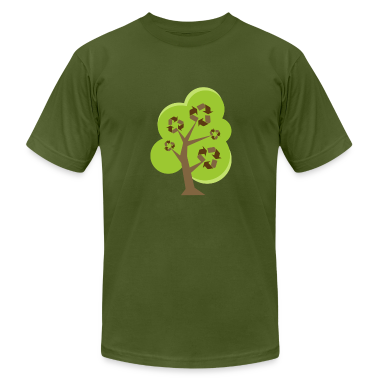 Olive Recycle Tree Green T-Shirts