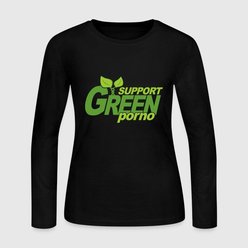 Chocolate Support Green Porno Long Sleeve Shirts - Women's Long Sleeve Jersey T-Shirt