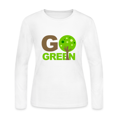 White Go Green Tree  Long Sleeve Shirts