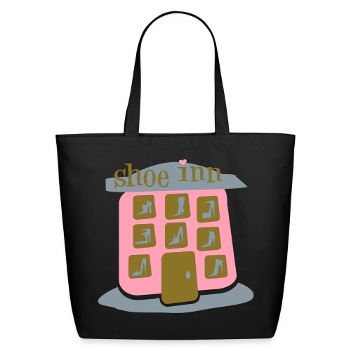 ISIAT 'Shoe Inn With Shoes, Boots' Lrg Eco Tote, Blk - Eco-Friendly Cotton Tote