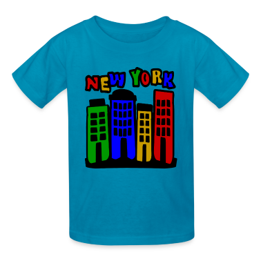 Orange New York City Brownstones, 4 Color--DIGITAL DIRECT ONLY Kids' Shirts