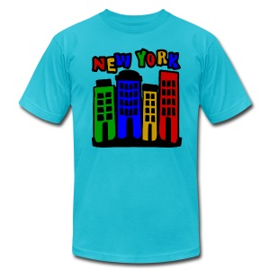WUBT '4 New York City Brownstones, 5 Color'--DIGITAL DIRECT, Men's AA Tee, Turquoise - Men's T-Shirt by American Apparel