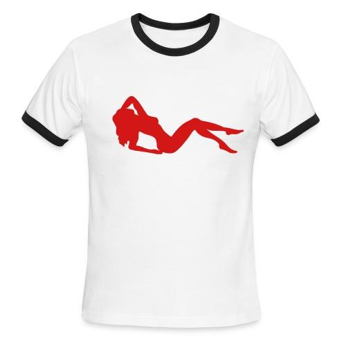 Sexy woman laying - Men's Ringer T-Shirt