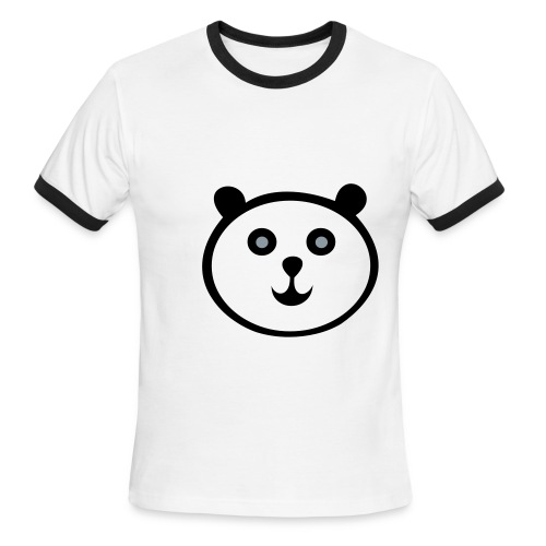 White w/ Black Trim, Happy Panda Shirt - Men's Ringer T-Shirt