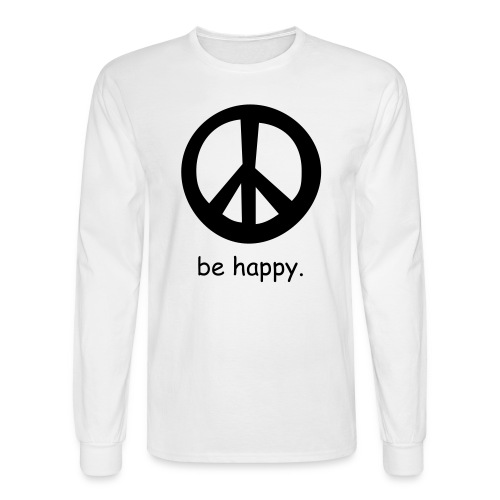 be happy(white) - Men's Long Sleeve T-Shirt