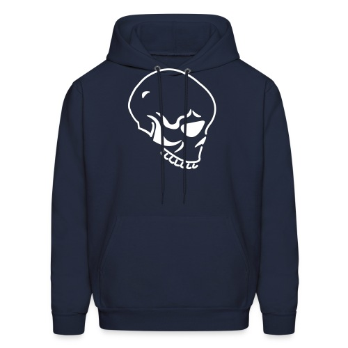 Skull Custom Text (Hooded Sweater) Navy White - Men's Hoodie