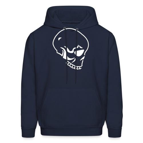 Skull Custom Text (Hooded Sweater) Navy White - Men's Hoodie