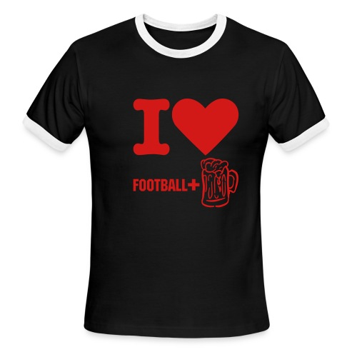 Football + Beer - Men's Ringer T-Shirt