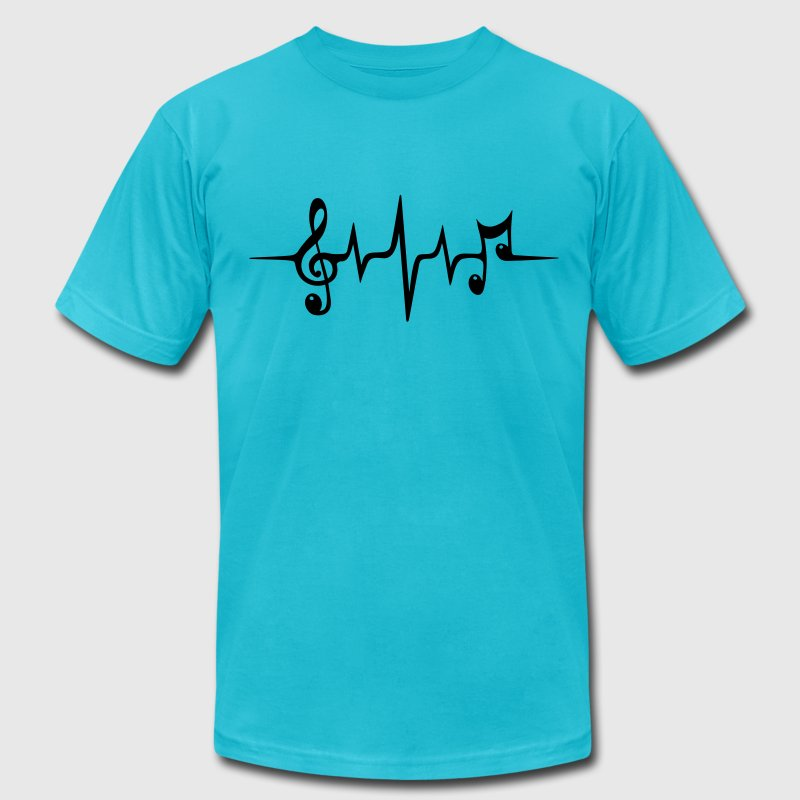 Heart Rate Pulse Music Note Clef Electro Classic T-Shirts - Men's T-Shirt by American Apparel
