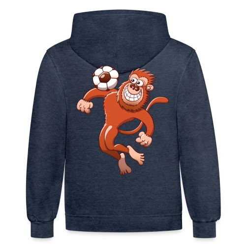 Monkey Trapping a Soccer Ball with its Chest Hoodies - Contrast Hoodie