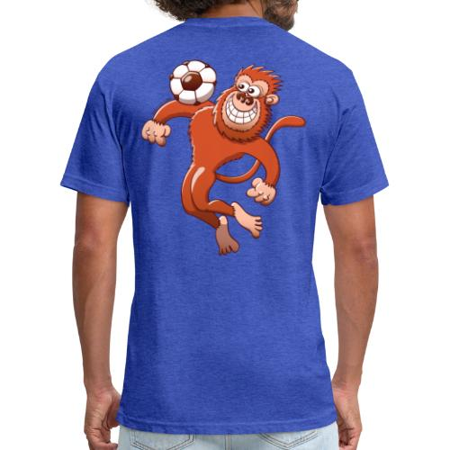 Monkey Trapping a Soccer Ball with its Chest Hoodies - Fitted Cotton/Poly T-Shirt by Next Level