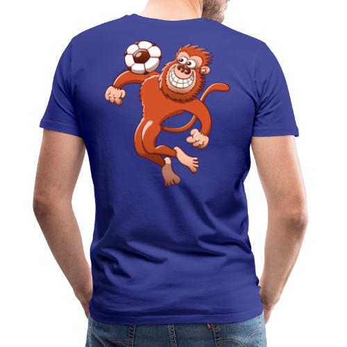 Monkey Trapping a Soccer Ball with its Chest Hoodies - Men's Premium T-Shirt