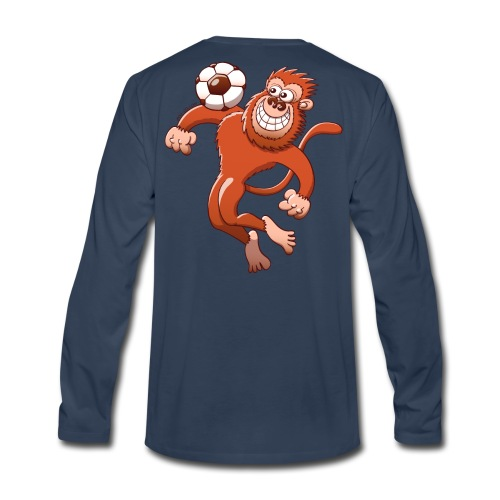 Monkey Trapping a Soccer Ball with its Chest Hoodies - Men's Premium Long Sleeve T-Shirt