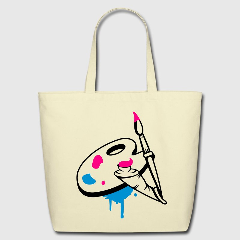 Paint brush, color and painter's palette Bags & backpacks - Eco-Friendly Cotton Tote