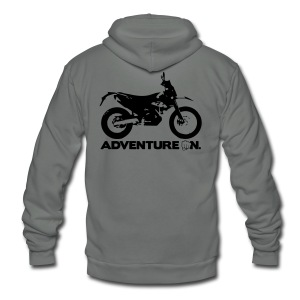 690 Adventure On - Black Logo - Unisex Fleece Zip Hoodie by American Apparel