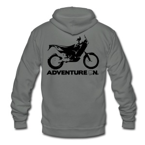 Orange Adventure On - Black Logo - Unisex Fleece Zip Hoodie by American Apparel