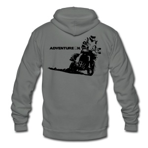 F8 Adventure On - Black Logo - Unisex Fleece Zip Hoodie by American Apparel