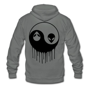 ALIEN YIN-YANG TIE-DYE - Unisex Fleece Zip Hoodie by American Apparel