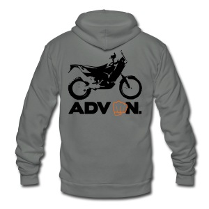 Orange ADV On - 2 Color Logo - Unisex Fleece Zip Hoodie by American Apparel