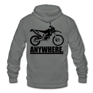 Original ANYWHERE - Black Logo - Unisex Fleece Zip Hoodie by American Apparel