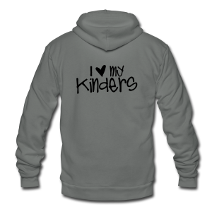 Love My Kinders | Navy - Unisex Fleece Zip Hoodie by American Apparel