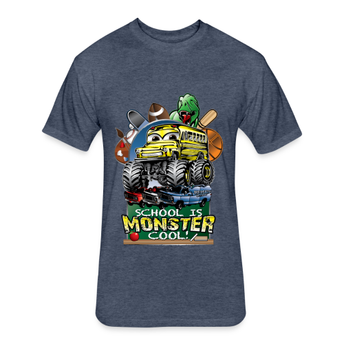 Monster School Bus FRONT - Fitted Cotton/Poly T-Shirt by Next Level