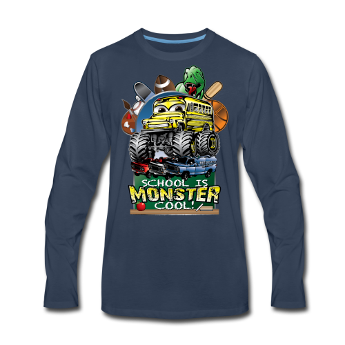 Monster School Bus FRONT - Men's Premium Long Sleeve T-Shirt