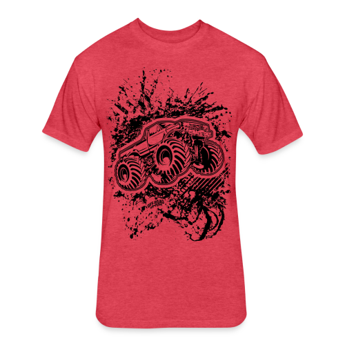 Grunge Monster Truck FRONT - Fitted Cotton/Poly T-Shirt by Next Level