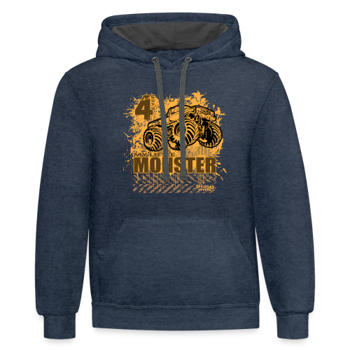 Kids Monster Truck Shirt - Contrast Hoodie