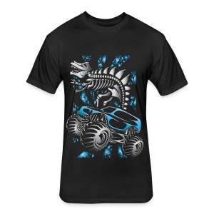 Monster SkeleT-Rex Truck - Fitted Cotton/Poly T-Shirt by Next Level