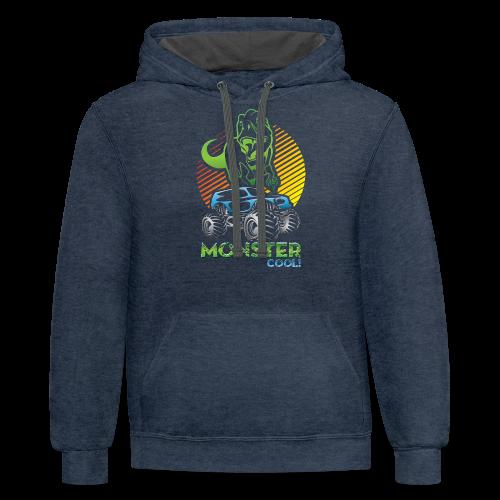 Kids Dinosaur Monster Truck - Contrast Hoodie