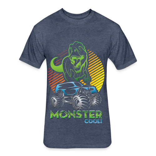 Kids Dinosaur Monster Truck - Fitted Cotton/Poly T-Shirt by Next Level