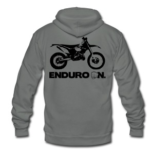 2Stroke Enduro On - Black Logo - Unisex Fleece Zip Hoodie by American Apparel