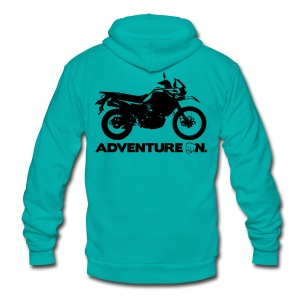 Trusty Adventure On - White Logo - Unisex Fleece Zip Hoodie by American Apparel