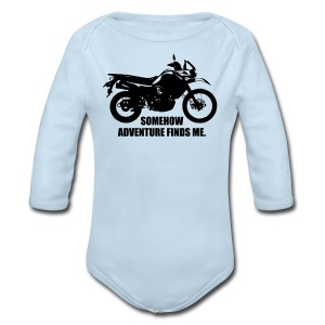 Trusty Adventure Finds Me - White Logo - Long Sleeve Baby Bodysuit